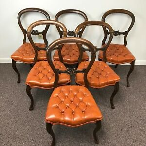 Set Of 6 Victorian Balloon Back Dining Chairs W Tufted Seat Upholstery