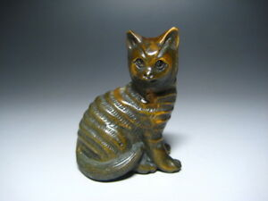 Netsuke Cat Japanese Antique Wooden Sculpture Ojime Okimono Inro