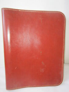 Vintage Leather 3 Ring Binder Notebook W Zipper Brown Conmap Zipper Nice Conditi