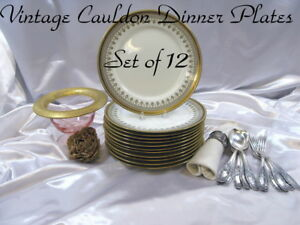 Cauldon Set Of 12 Gold Band Blk Greek Key Gray Scrolls Plates 10 5 Rd