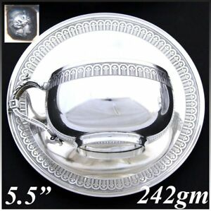 Antique French Sterling Silver Tea Cup Saucer Set Large Palmettes Acanthus