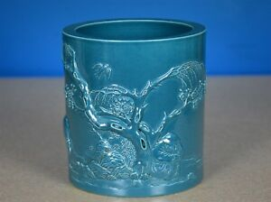 Delicate Antique Chinese Hand Carved Porcelain Brush Pot Marked Wang Bingrong K9