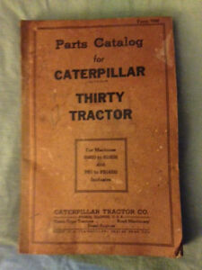 Parts Catalog For Caterpillar Thirty Tractor 1943 Edition