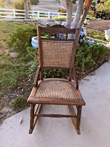 Childs Antique Victorian Rocking Chair Oak W Cane Back And Seat
