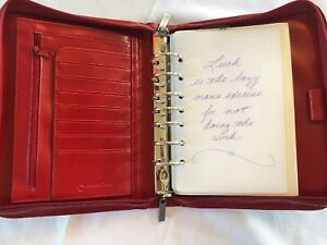 Franklin Covey Classic Red Faux Leather Planner Binder Handles 1 75 7 Ring