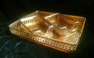 Vtg Brass Paper Desk Tray Letter 2 Small Accessory Trays Filigree Sides Lot Of 3