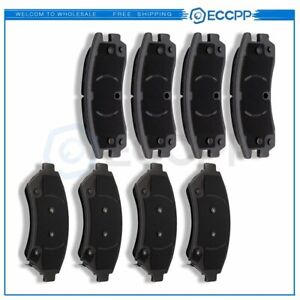 4x Front And 4x Rear Ceramic Brake Pads For Buick Chevrolet Oldsmobile Pontiac