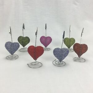 Beaded Wire Heart Memo Photo Holder Table Number Stand Desktop Lot Of 7