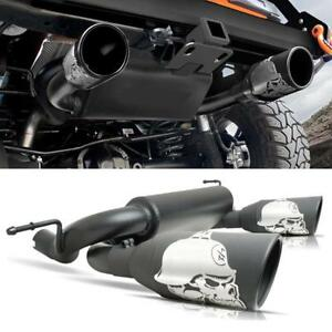 For 07 18 Jeep Wrangler Jk Unlimited Sport Black Cat Back Dual Exhaust Muffler