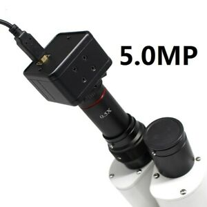 5mp Usb Ccd Camera Microscope Digital Electronic Eyepiece With 0 5x C Mount Lens