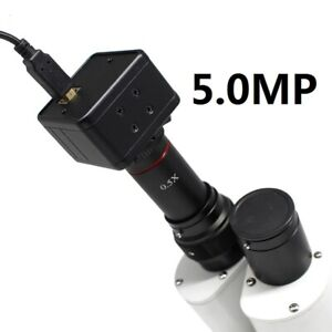 5mp Usb Cmos Camera Microscope Digital Electronic Eyepiece W 0 5x C Mount Lens