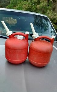 Lot Of 2 Vintage Eagle Gas Can Vented Spout With Screw On Cap 1 1 4 Gallon