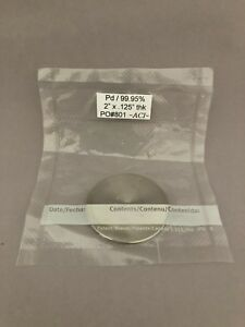 Palladium pd Sputtering Target 99 95 Pure 2 Dia X 0 125 Thick