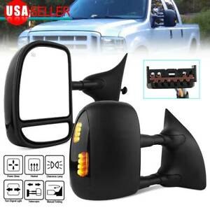 Pair For 1999 2007 Ford F250 F550 Superduty Led Signal Power Heated Tow Mirrors