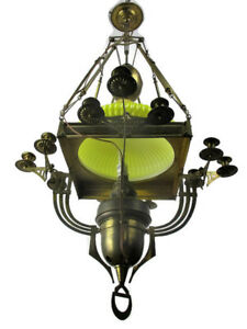 Impressive Chandelier Arts Crafts Bauhaus Art Deco Brass Yellow Opaline Shade