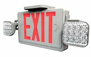 Ciata Lighting Led Red Exit Sign Emergency Light Combo With Battery Backup Fas