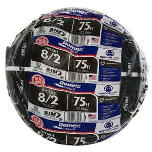 Southwire Cu Nm b W g Wire Stranded Romex Simpull 75 Ft 8 2 Black Color Jacket