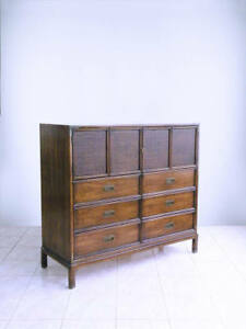 Henredon Campaign Hollywood Regency Cane Chinoiserie Dresser Gentlemans Chest
