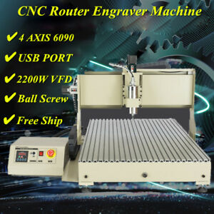 4 Axis Cnc Router 6090 Engraver 2 2kw Vfd Usb Milling Drilling Machine Metal Cut