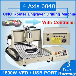 Usb 4 Axis 6040 Cnc Router Engraver Drilling Machine 1 5kw Vfd remote Controller