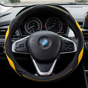 Universal Breathable Splicing Pu Leather Steering Wheel Cover Yellow Black Color