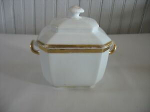 Antique Old Paris Porcelain Large Covered Sugar 8 Sides W Handles Mid 1800s