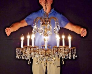 Antique French 10 Arm 10 Lite Palace Versailles Cut Lead Crystal Chandelier