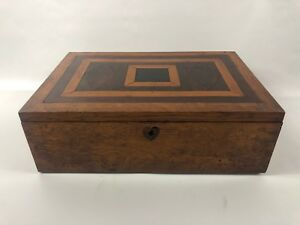 1850s Antique Inlaid Hand Made Document Box Dovetailed Look