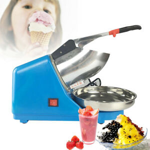Electric Ice Crusher Shaver Snow Cone Maker Machine Blue Stainless Steel Pan