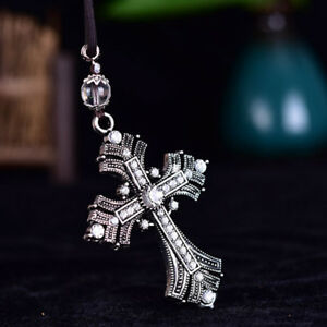 Alloy Rhinestone Jesus Cross Pendant Car Rear View Mirror Hanging Decor Gift Us