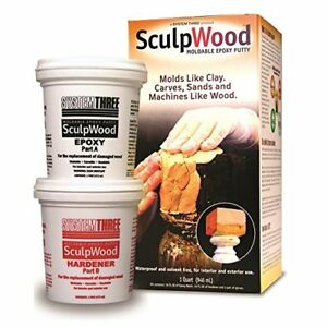 New 1 quart Sculpwood Moldable Epoxy Putty System Three Waterproof Solvent Free