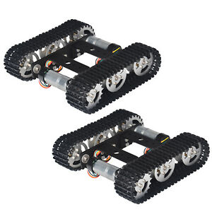 2 Pack Tracked Robot Smart Car Platform Chassis W Dual Dc 9v Motor For Arduino