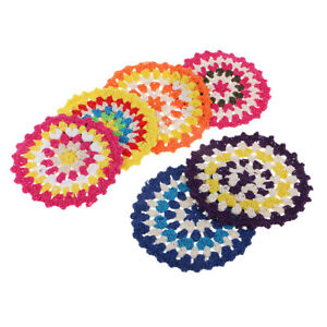 6x 11cm Colored Round Cotton Crochet Lace Doily Table Placemats Coaster Mat