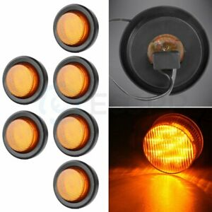 6x Amber 2 Inch 9 Led Round Truck Trailer Side Marker Clearance Light W Grommet