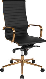 Black Ribbed Upholstered Leather Executive Swivel Office Chair Bt 9826h bk gd gg