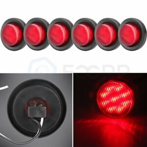 6x Red 2 In 9 Led Round Truck Trailer Side Marker Clearance Light W Grommet 12v