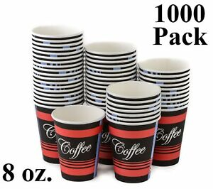 1000 Pack 8 Oz Eco Friendly Poly Paper Disposable Hot Tea Coffee Cups No Lids