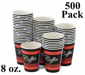 500 Pack 8 Oz Eco Friendly Poly Paper Disposable Hot Tea Coffee Cups no Lids