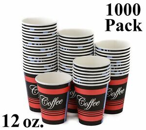 1000 Pack 12 Oz Eco Friendly Poly Paper Disposable Hot Tea Coffee Cups No Lids