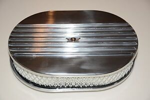 15 Polished Aluminum Nostalgia Half Finned Oval Air Cleaner Street Rod Filter