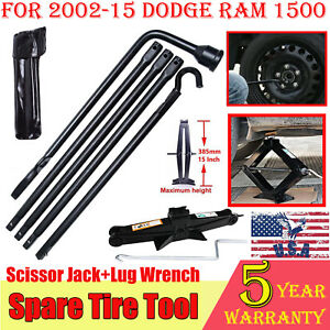Hi q 2002 2015 Dodge Ram Spare Tire Tool Kit lug Wrench And 2t Scissor Jack Set