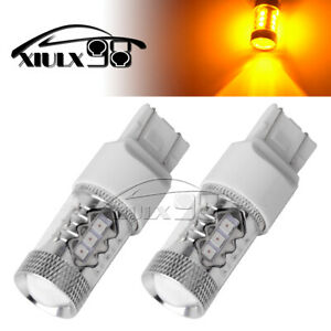 2x Amber Yellow 80w 7443 7440 16 Smd Turn Signal Brake Tail Led Light Bulbs