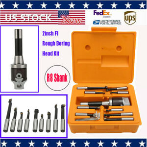 9pcs 2 Boring Head R8 Shank 1 2 Carbide Boring Bar Set Bridgeport Milling Kh