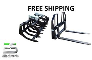 66 Brush Grapple And 48 Walk Thru Pallet Forks Combo Skid Steer Free Shipping
