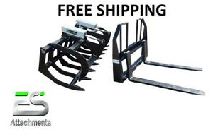 72 Hd Brush Grapple And 48 Walk Thru Pallet Forks Combo Skid Steer Ships Free