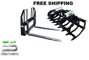 78 Hd Brush Grapple And 48 Walk Thru Pallet Forks Combo Skid Steer Ships Free