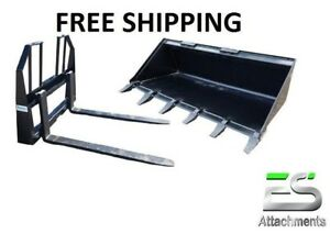 60 Tooth Bucket And 48 Walk Thru Pallet Forks Combo Skid Steer Free Shipping