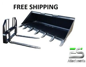 Es 72 Tooth Bucket 48 Walk Thru Pallet Forks Combo Skid Steer Free Shipping