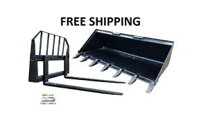 66 Tooth Bucket And 48 Pallet Forks Combo Skid Steer Free Shipping
