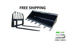 72 Tooth Bucket And 48 Pallet Forks Combo Skid Steer Free Shipping